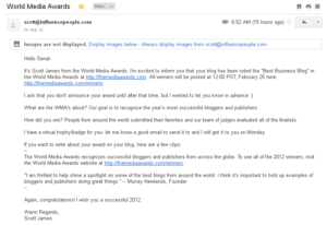 Email from The World Media Awards