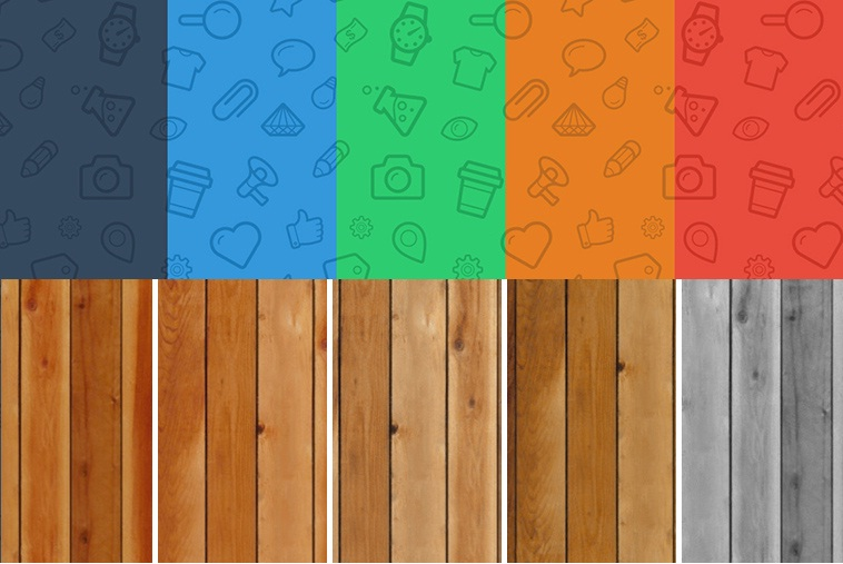 Seamless Icons and Wood Patterns